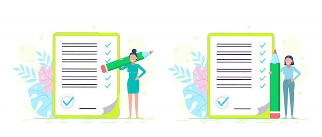 Checkliste für geschäftsfrauen. erfolgreiche frau prüft aufgabenerfolg, erledigte geschäftsaufgaben. illustration