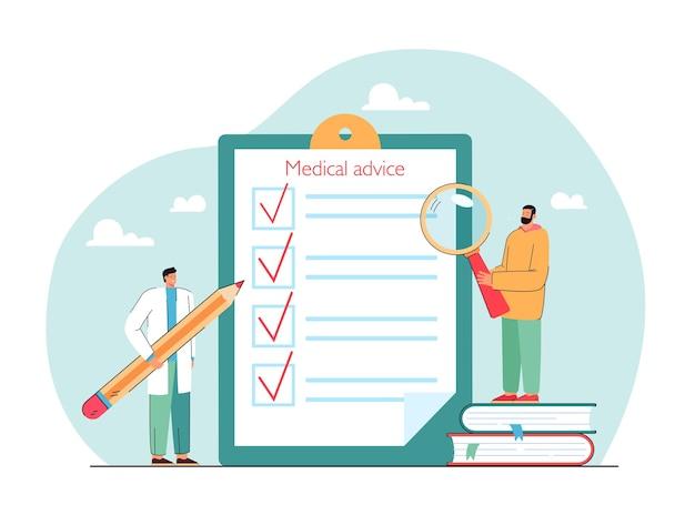 Checkliste für medizinische ratschläge auf flacher vektorillustration der zwischenablage