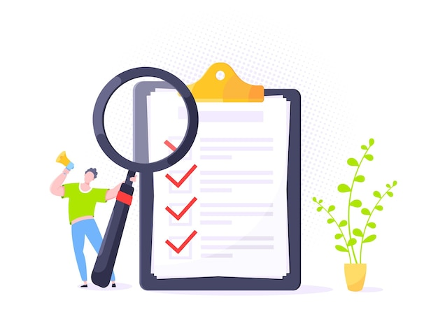 Checkliste komplettes geschäftskonzept winzige person mit megaphon