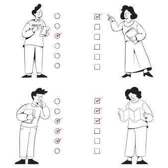 Checkliste menschen aktivitäten kritzeleien
