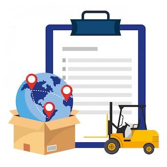 Checkliste mit hubwagenillustration