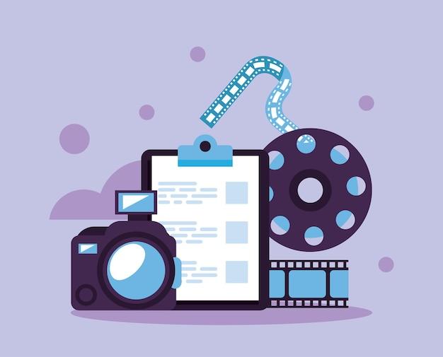 Checkliste mit symbolen für videoproduktionssets
