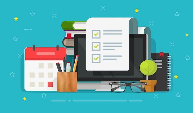 Checkliste umfragedokument auf computer und schreibtisch tischkarikatur