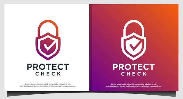 Checkliste vorhängeschloss schützt den sicherheitslogo-designvektor Premium Vektoren