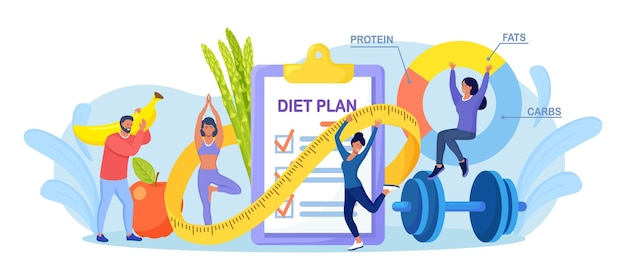 Checkliste zum diätplan. menschen, die sport treiben, trainieren und eine diät mit obst und gemüse planen. mädchen, das yoga tut. ernährung gewichtsverlust diät, individuelle diät. gesunder lebensstil, fitness