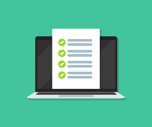 Checklisten-dokument auf laptop in einer wohnung.