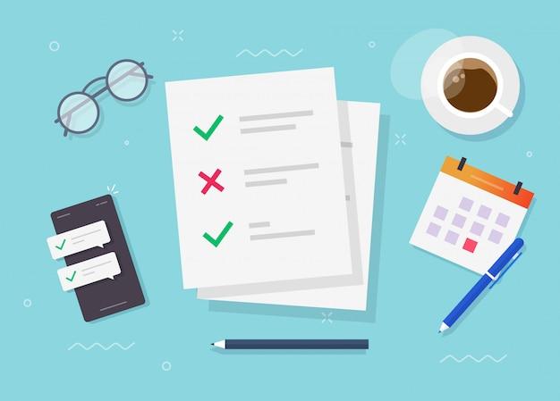Checklisten-dokument des umfrageformulars am arbeitsplatz des studiums