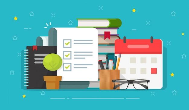 Checklistendokument oder aufgabenliste auf pädagogischem desktop-arbeitsplatz flacher cartoon zu tun