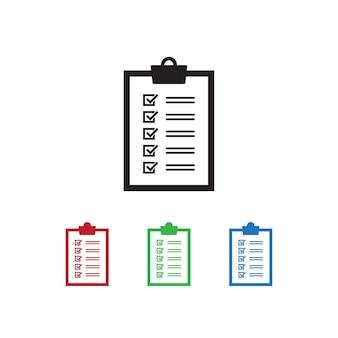 Checklistenikone auf weißem hintergrund mit unterschiedlichem farbsatz.