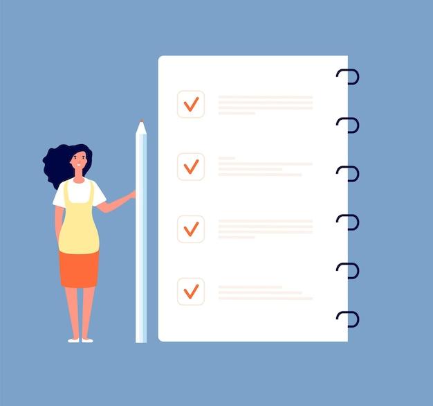 Checklistenkonzept. geschäftsfrau, die steht, um liste zu tun. monatsplanung, zeitmanagement und umfrage bilden den vektorhintergrund. checklisten-aufgabenpapier, abbildung der geschäftsplanliste