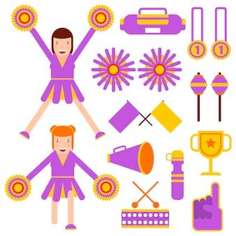 Cheerleader-elemente und cheerleader-mädchenzubehör