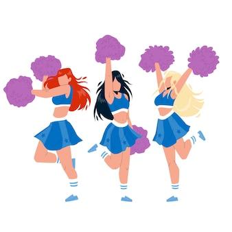 Cheerleader mädchen tanzen mit pompoms vector. cheerleader-junge frauen, die pon-pon halten, tanzen und jubeln sportteam auf wettbewerb zusammen. charaktere, die flache cartoon-illustration jubeln