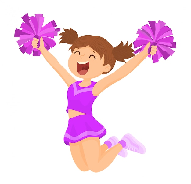 Cheerleader mit passenden pompons