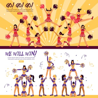 Cheerleader-team flat banner