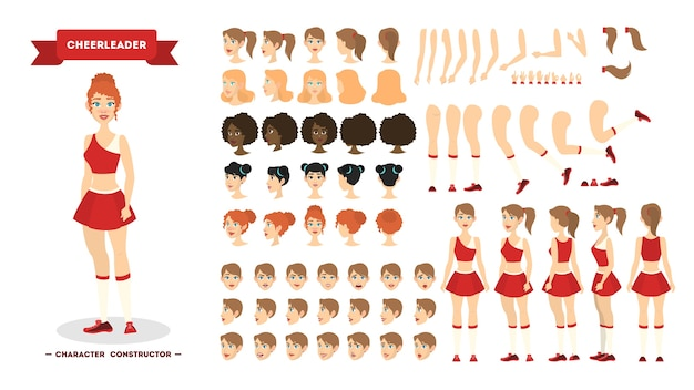 Cheerleader-zeichensatz für die animation mit verschiedenen ansichten