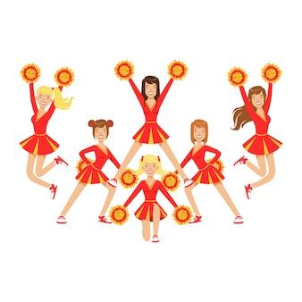 Cheerleaderinnen mit pompons tanzen, um die fußballmannschaft während des wettbewerbs zu unterstützen. . bunte zeichentrickfigur illustration