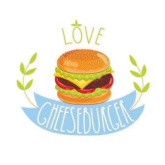 Cheeseburger auf weißem hintergrund