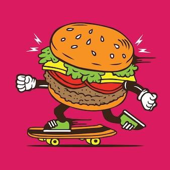 Cheeseburger fertigkost-rochen-skateboard-charakter-entwurf