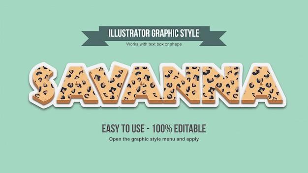 Cheetah animal print 3d bearbeitbarer texteffekt in großbuchstaben