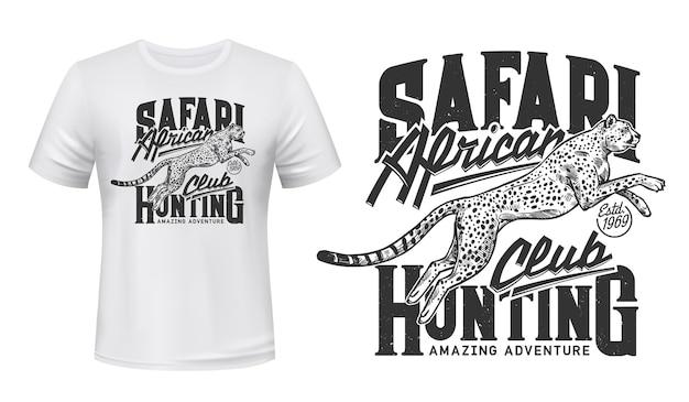 Cheetah t-shirt druck mit springendem guepard