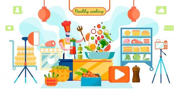 Chef blogger, der video des gesunden kochens aufzeichnet