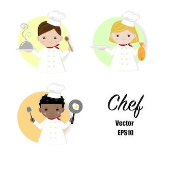 Chef cartoon set mit verschiedenen accessoires.