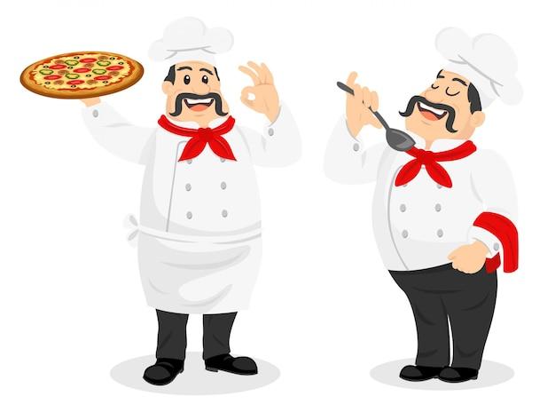 Chef charakter mann mit pizza und löffel