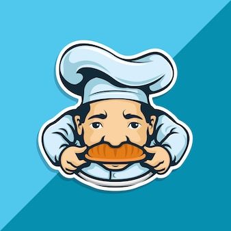 Chef charakter mit bäckerei auf schnurrbart. charakter maskottchen.