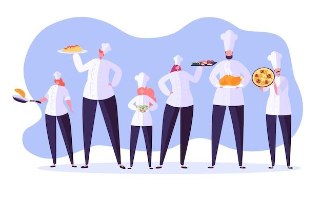 Chef charaktere gesetzt. karikaturchef, der im restaurant kocht. mit tablett und verschiedenen mahlzeiten kochen. nahrungsmittelindustrie.
