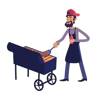 Chef, der fleischkarikaturillustration grillt.