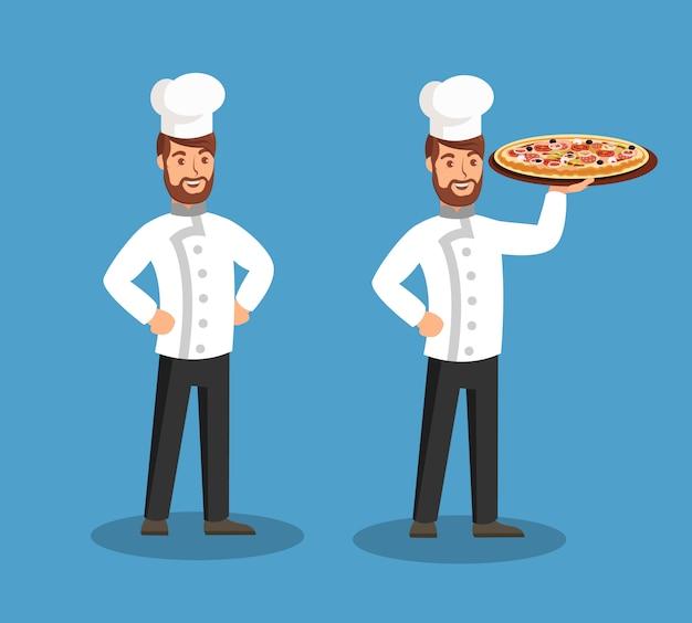 Chef, der geschmackvolle pizza-flache vektor-illustration hält