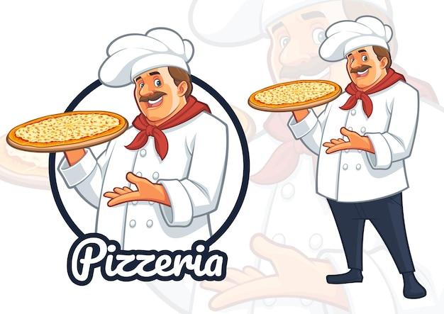 Chef, der pizzacharater-design für pizzarestaurant serviert