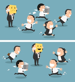 Chef, der seine stimmung von schlechtem zu gutem, vektor ändert