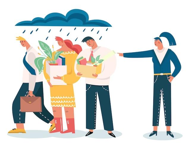 Chef entlassene mitarbeiter; entlassung von arbeit, arbeitslosigkeit, arbeitslosigkeit, krisenkonzept. traurige arbeiter verlieren einen job und stehen mit bürokasten. menschen, die am letzten arbeitstag wegen schlechter arbeit entlassen wurden.