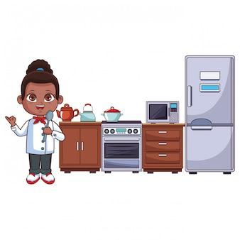 Chef-mädchen-cartoon