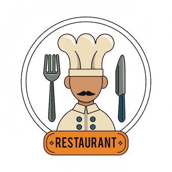 Chef mit besteck restaurant und food-konzept
