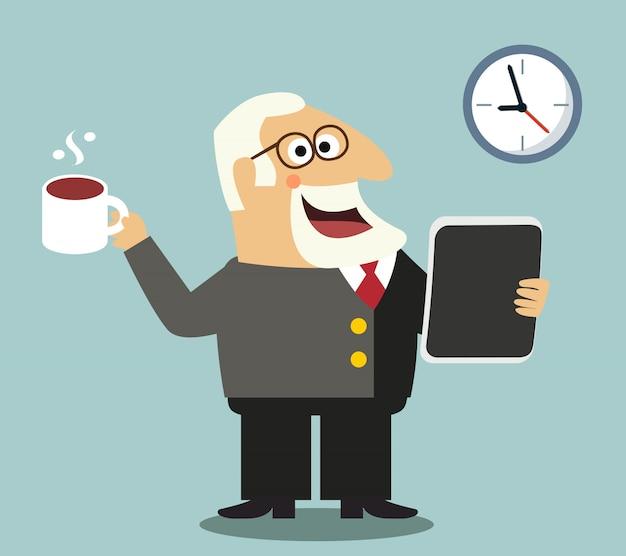 Chef mit tablette und kaffee
