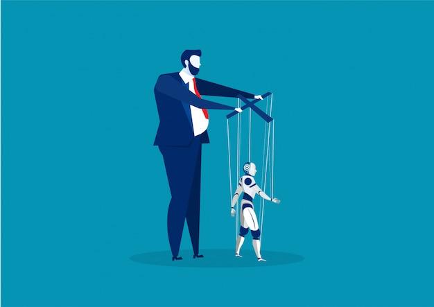 Chef oder geschäftsmann, der marionetten-ai-robotervektor steuert