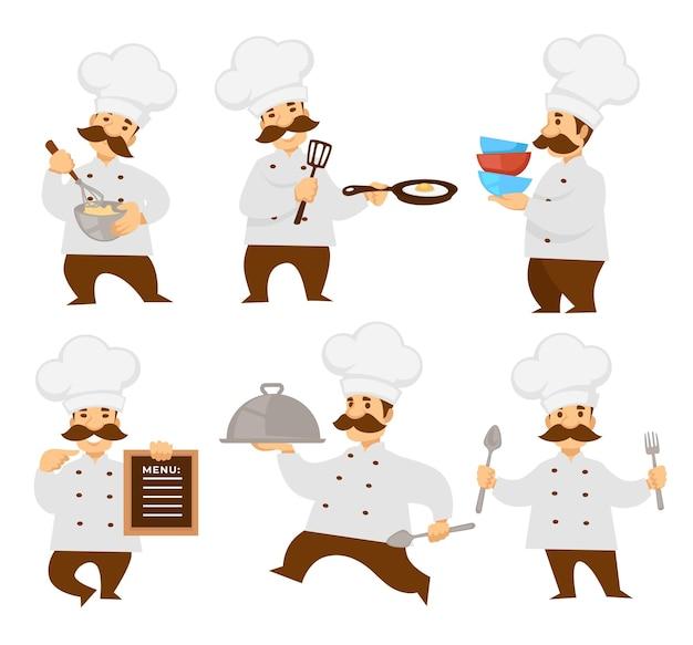 Chef oder koch in uniform menütafel und herd pizza und teig