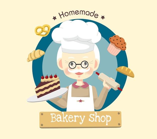 Chef-opa-cartoon-bäckerei-logo