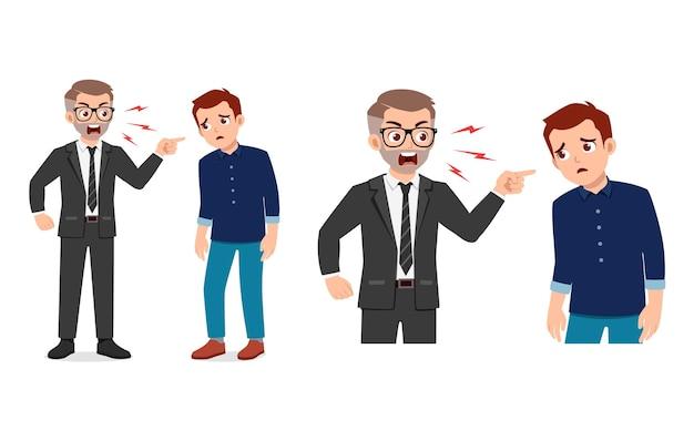 Chef schreien und wütend auf jungen mann mitarbeiter