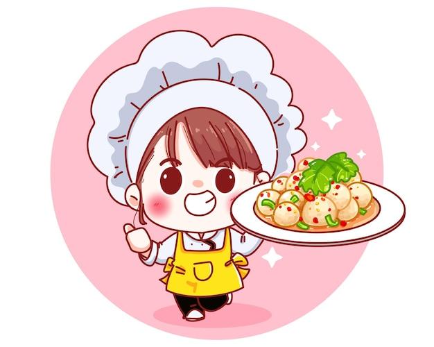 Chef süß mit würziger fleischbällchen-salat-chili-karikaturillustration