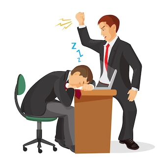 Chef weint über schlafenden arbeiter, der auf tisch liegt. müde manager schlafen am arbeitsplatz ein. verärgerter arbeitgeber, der versucht, erschöpften mitarbeiter aufzuwecken. verärgerter koch, der auf träumenden mann realistisch schreit