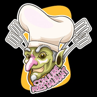 Chef-zauberer-cartoon-logo-vektor-illustration