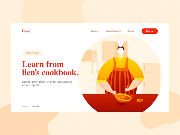 Chefcharakter, der kochgeschirr (kadai) mit schöpflöffel auf küchenansicht für learn from liens kochbuch-landingpage hält.