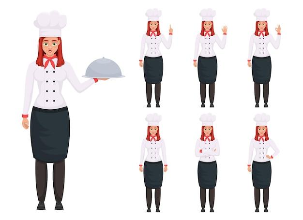 Cheffrau-designillustration lokalisiert auf weißem hintergrund