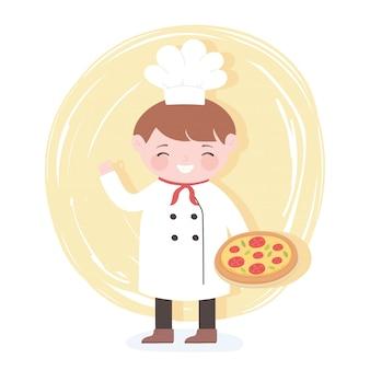 Chefkarikaturfigur, die pizza in der hand hält