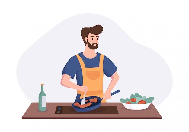 Chefkoch, der abendessen am tisch in der küche kocht. karikaturcharakterkonzept, das mahlzeiten zu hause im flachen stil zubereitet. illustration