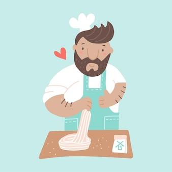 Chefkoch, der pasta im restaurantmeister kocht, macht gericht aus teig professionelle kulinarische show flache vektorgrafiken hausgemachtes mittag- oder abendessen bei der zubereitung von speisen