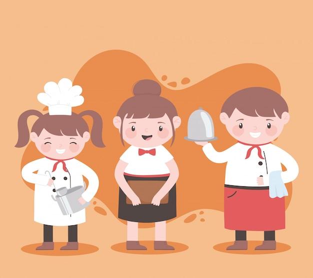 Chefkoch-karikaturfigur mit weiblicher und männlicher kellnerin
